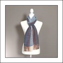 contrast woven scarf_indigo and browns_cotton_5387_levels_web